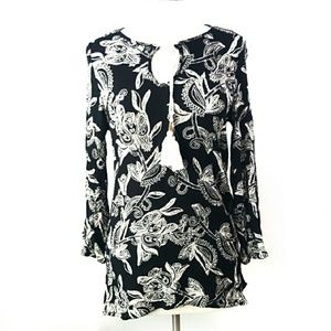Soft Surroundings Black Floral Crinkle Tunic